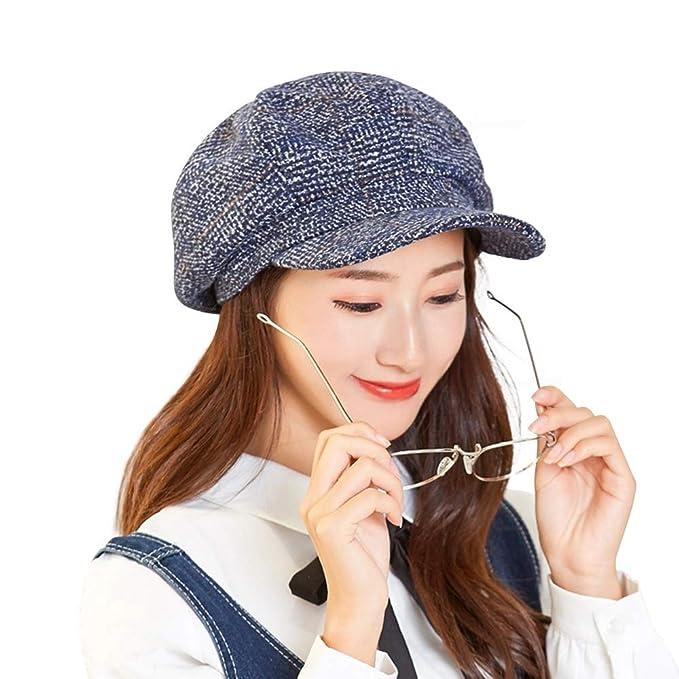 2deab68321931 Womens Newsboy Cap Wool Visor Cabbie Fiddler Winter Spring Octagonal  Paperboy Hat Girls Gift Blue