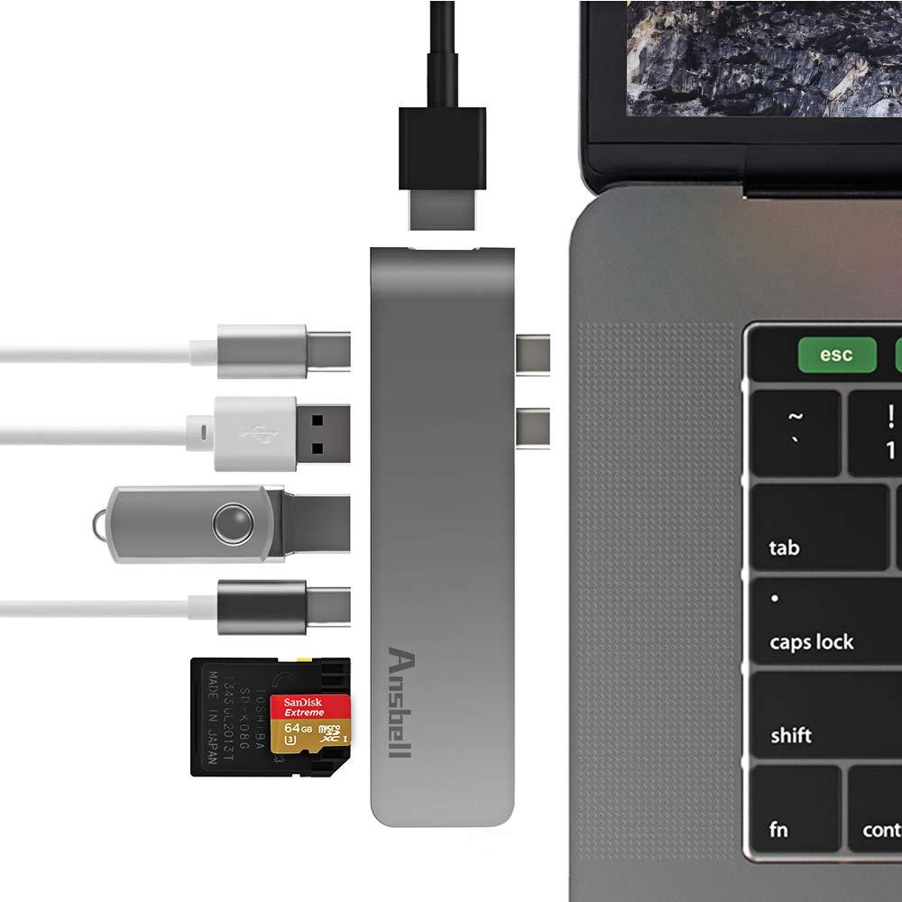 Thunderbolt 3 hub,Mastertool Aluminum USB Type-C Hub Multiport Adapter Combo for MacBook Pro 2016/2017 Thunderbolt 3 Port 5K@60Hz, 4K HDMI,Pass-Through Charging,SD/Micro SD Cards Slots and 2 USB 3.0 by Ansbell