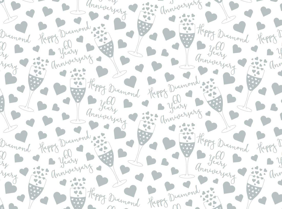 60th Diamond Wedding Anniversary Quality Gift Wrapping Paper /& Gift Tags 1 Sheet /& 2 Gift Tags