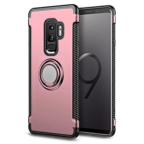 Samsung Galaxy S9 Plus Case, BiBiDs 2 in 1 TPU+PC Double Protection Case Shockproof Cover with 360 Degree Rotating Ring for Samsung Galaxy S9 Plus ...