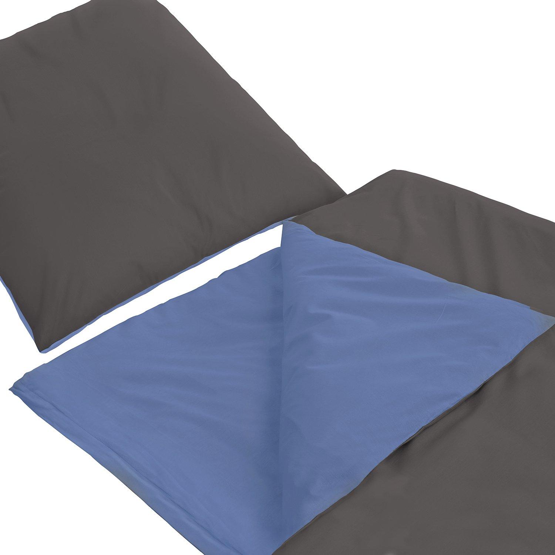 155x220 cm Farbe Anthrazit Blau Wasserbetten-Markenshop Baumwoll Bettw/äsche Uni Wende Anthrazit Variationen in Renforce Qualit/ät 4 TLG