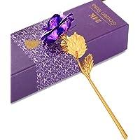 wergem Fleur Rose plaquée Multicolore Rose Cadeau de Saint Valentin Romantique Objets de décoration