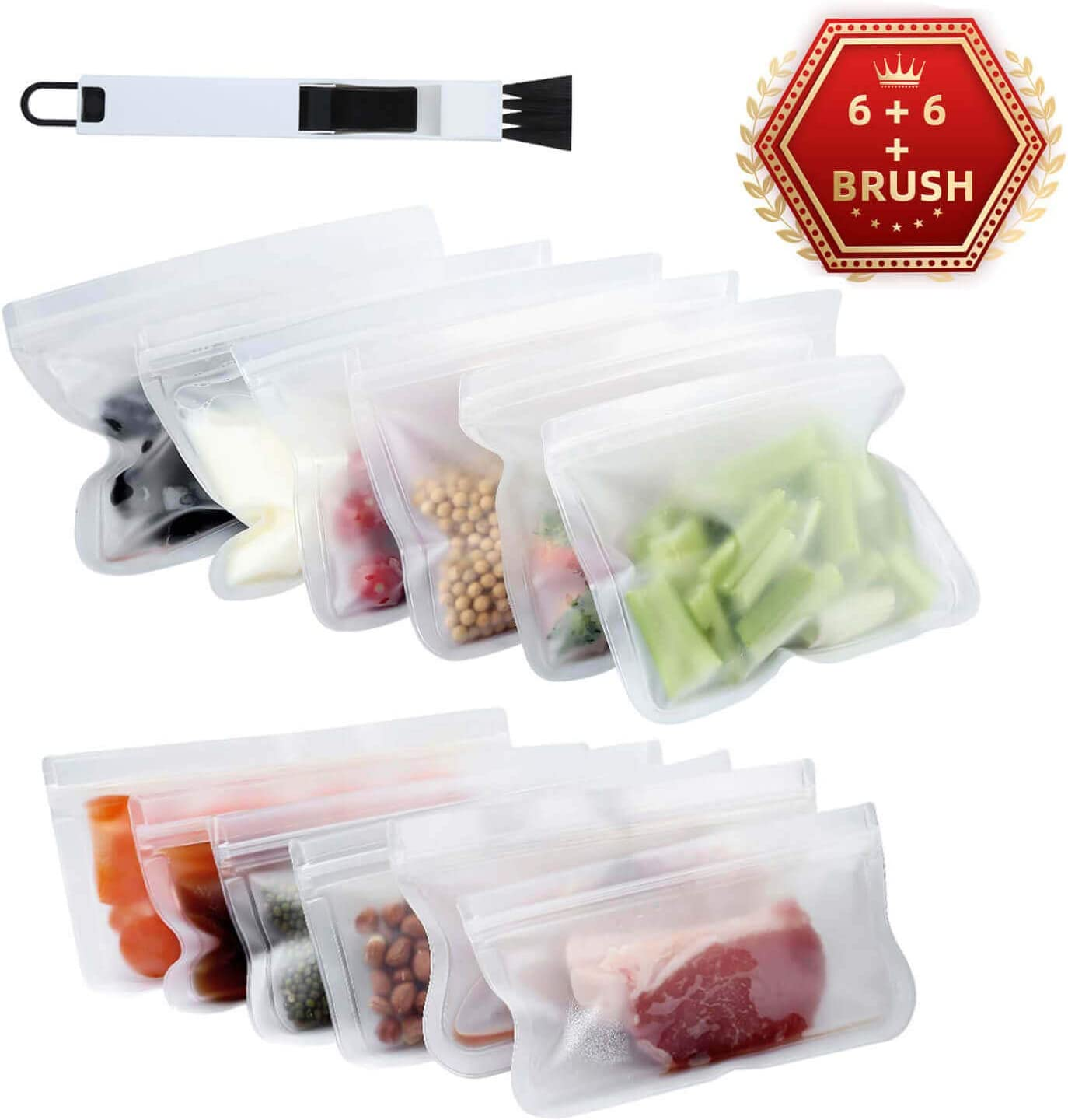 12 PackFood Storage Bags, Reusable Sandwich Snack Bagsfor Kids, Leakproof Extra Thick, Enough to Hold Nuts, Vegetables, Fruits, Meat, Soup and Dry Food Items 2 Size (8.46x 7.1/8.46 x 4.7 Inch x 6)