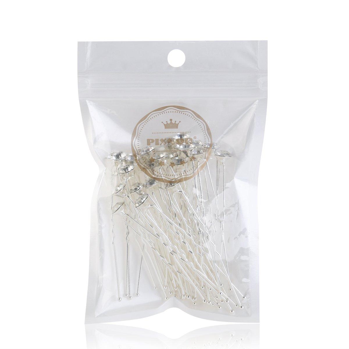 Pixnor 30pcs Pinzas para el Cabello de Boda de Flor del Diamante de Cristal  de Novia ... 7584f7a13d88