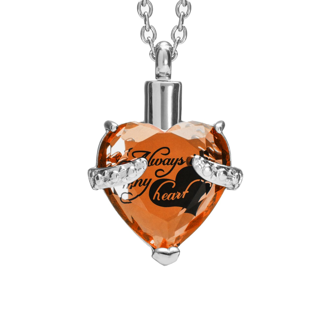 SmartChoice Keepsake Rhinestone Necklace Heart Pendant for Cremation Ashes with Beautiful Presentation Gift Box, Elegant Memorial Jewelry with Stainless Chain and Accessories, (Topaz/November)