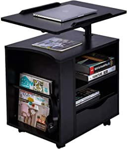 AIZ Bedside Desk, Adjustable Height Over Bed Table, Rolling Laptop Cart, Night Stand Drawer, TV Trays, Black (Right Side)