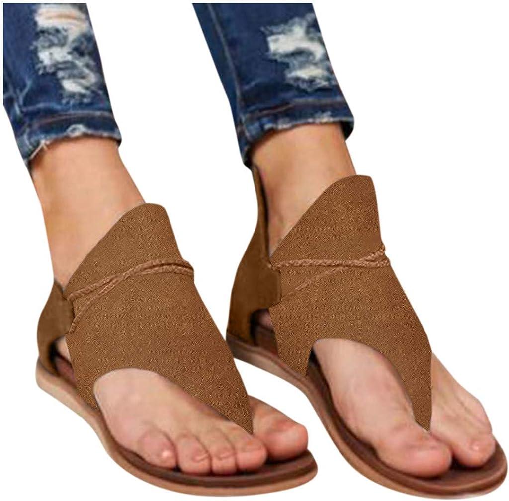 Zilosconcy Frauen Sandalen Flache L/ässig Sommer Zehentrenner Peeptoe Casual Beach Sandal Retro R/ömischer Stil Strandsandalen Mode Bequeme Outdoor Open Toe Flip Flop