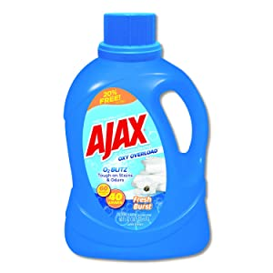 Ajax Oxy Overload Laundry Detergent, Fresh Burst Scent, 60 oz Bottle, 6/Carton
