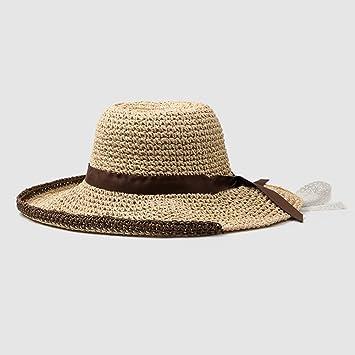 HAIPENG Gorra ala Ancha Paja Playa Sombrero Cordón Cincha Verano Hembra  Quitasol Ajustable a33c5e4ee3e
