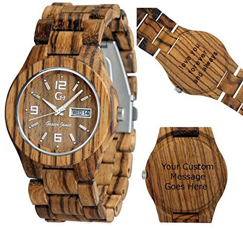 Wood Watch - Wooden Watch -Men's - Women's - Lady's style - Customizable - Personal Message Laser Engraving by Gassen James
