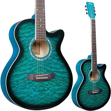 Lindo Standard - Guitarra acústica azul turquesa y paquete de accesorios (bolsa de agarre, sintonizador de clip, DVD, correa, púa, juego de cuerdas): Amazon.es: Instrumentos musicales