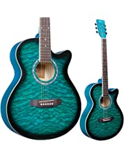 Lindo Standard Turquoise Blue Acoustic Guitar and Accessory Pack (Gigbag, Clip-on Tuner, DVD, Strap, Plectrum, Set of Strings)