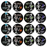 Set of 12 Assorted - 8'' Diameter Halloween Dessert Plates with Dancing Skeletons! - Perfect for Halloween Or Spooky Secret Social Gatherings Such as Tabletop Gaming - Bone-Appetit