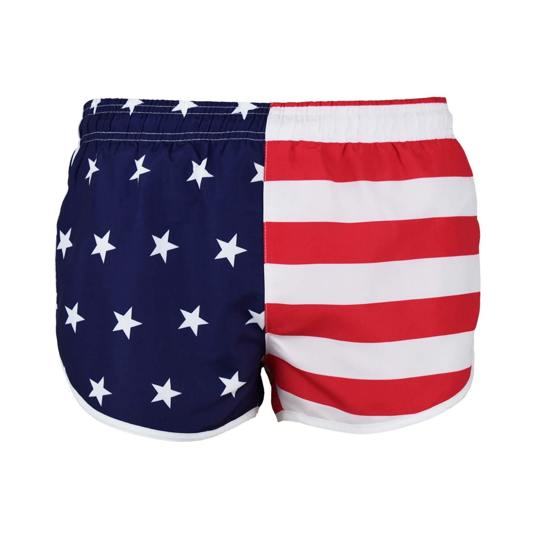 VBRANDED Men's American Flag Inspired Running Shorts and Swimwear Trunks M