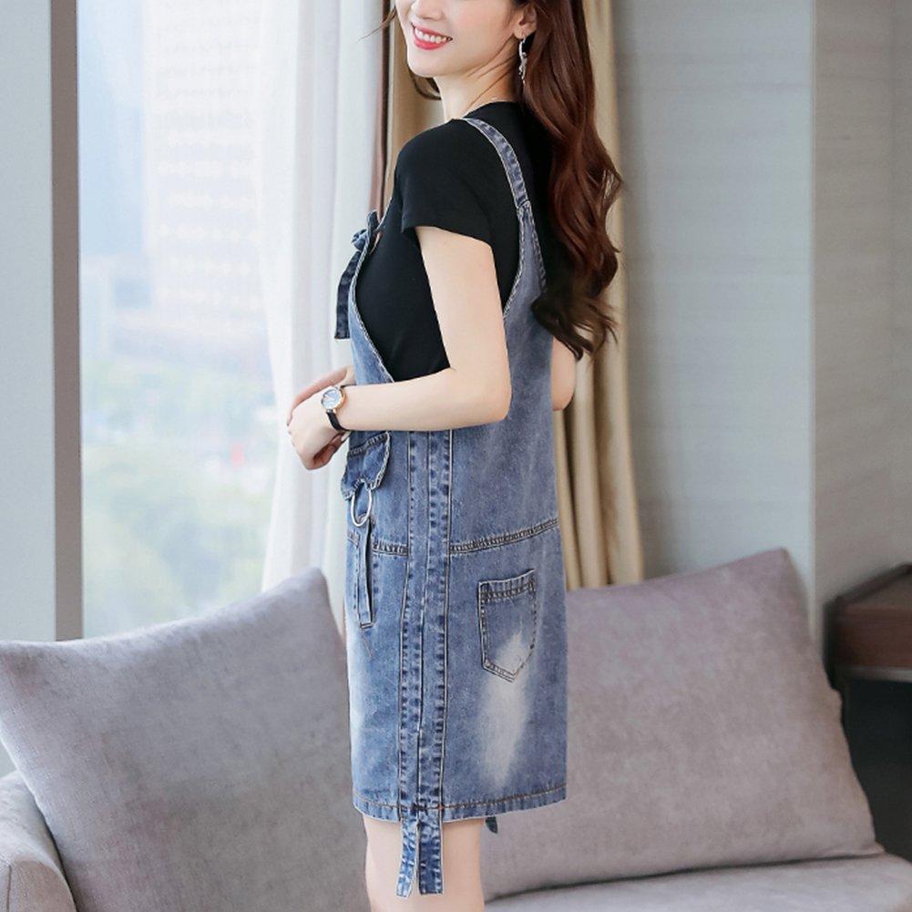 Meiyiu Women Stylish Denim Skirt Shoulder Strap Suspender Skirt Casual Daily Wear Outfits Gift Denim Blue (Single Skirt) XXL by Meiyiu (Image #4)