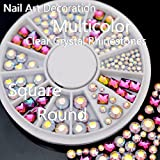 TR.OD 1 Wheel 3D Nail Art Tip Manicure Nail Art Decoration Glitter Crystal Glass Rhinestones Use With Nail Glue or Other Gel System Mixed Bright