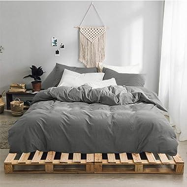 Gravan 3-Piece Duvet Cover Set, 100% Washed Cotton Duvet Cover, Ultra Soft Solid Color Modern Style Bedding Set Natural Wrinkled Look (Grey, Queen)