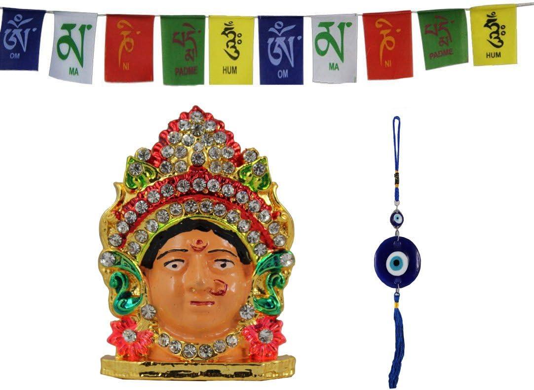 Odishabazaar Car Idol for Car Dashboard Pooja Office +Stone Evil Eye Hanging (color-363)