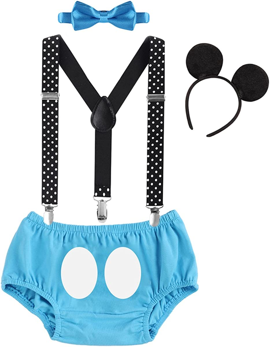 Baby Boys First Birthday Party Cake Smash Outfit Suspenders Pants Bowtie Set with Mouse Ear Headband Costume Photo Prop