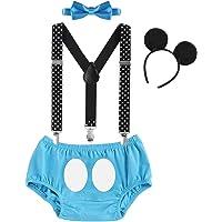 FYMNSI Infantil Bebé Niño 1er / 2do Traje de Cumpleaños Cake Smash Outfit Pantalones Cortos + Tirantes Elásticos y…