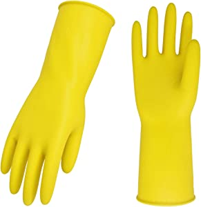 Vgo 10-Pairs Reusable Household Gloves, Rubber Dishwashing Gloves, Extra Thickness, Long Sleeves, Kitchen Cleaning, Working, Painting, Gardening, Pet Care (Size L, Yellow, HH4601)