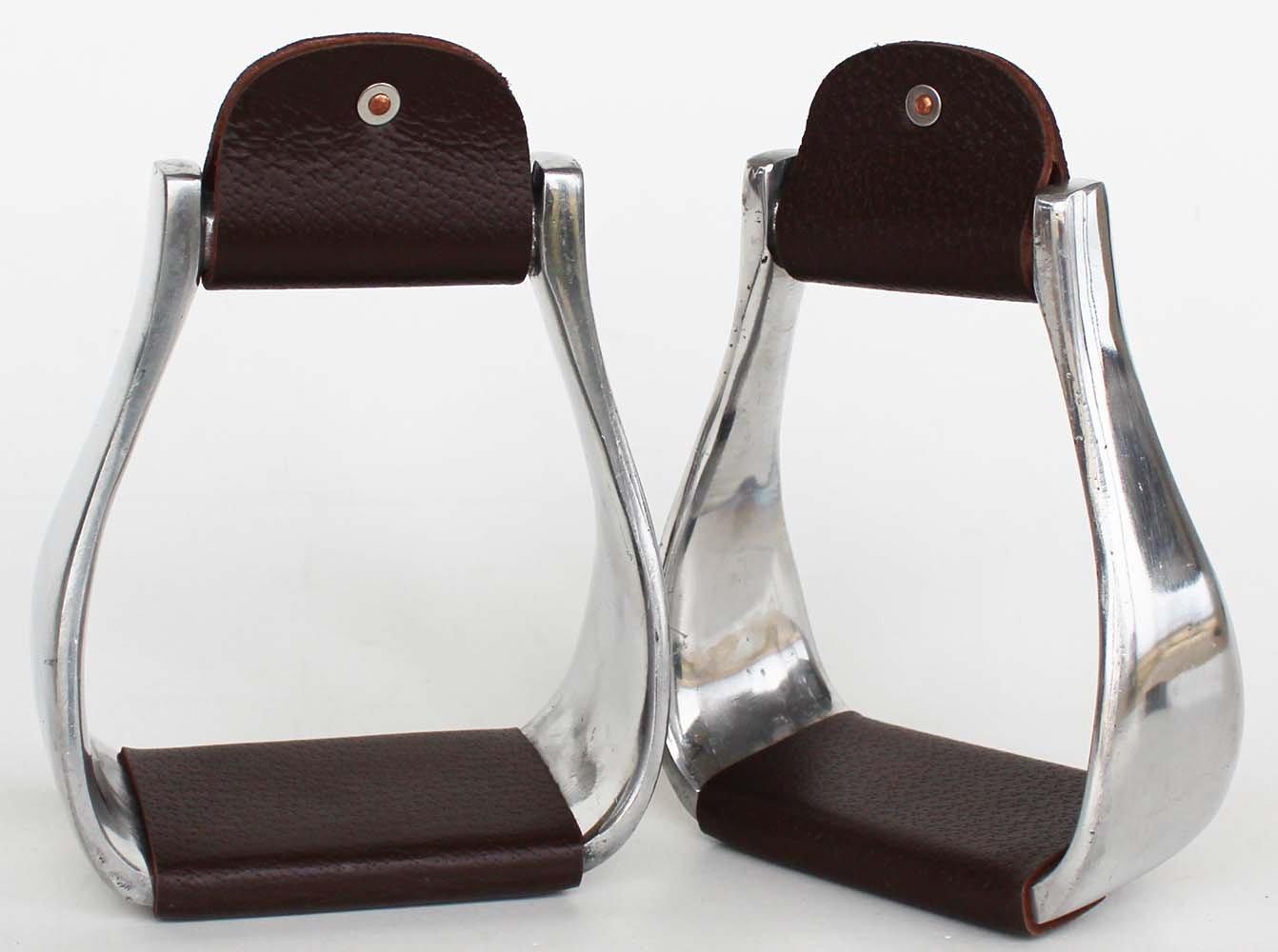 Pro Rider Horse Saddle Aluminum Western Stirrups Leather Tread Tack Adult Brown 51144