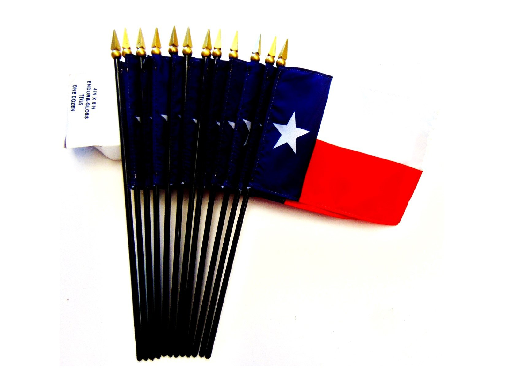 MADE IN USA!! Box of 12 Texas 4''x6'' Miniature Desk & Table Flags; 12 American Made Small Mini Texas State Flags in a Custom Made Cardboard Box Specifically Made for These Flags