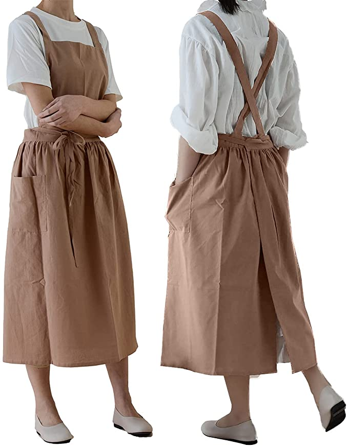 Cottagecore Clothing, Soft Aesthetic Cotton Apron Retro Garden Cross Back Pinafore Dress  AT vintagedancer.com