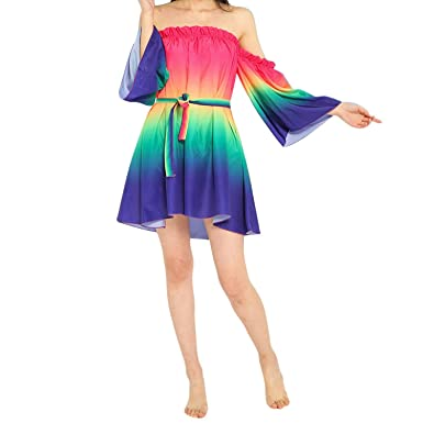 Running-sun Women Clothes Ladies Rainbow Flare Sleeve Shoulder Chiffon Dress Bohemia Beach Dress Vestido