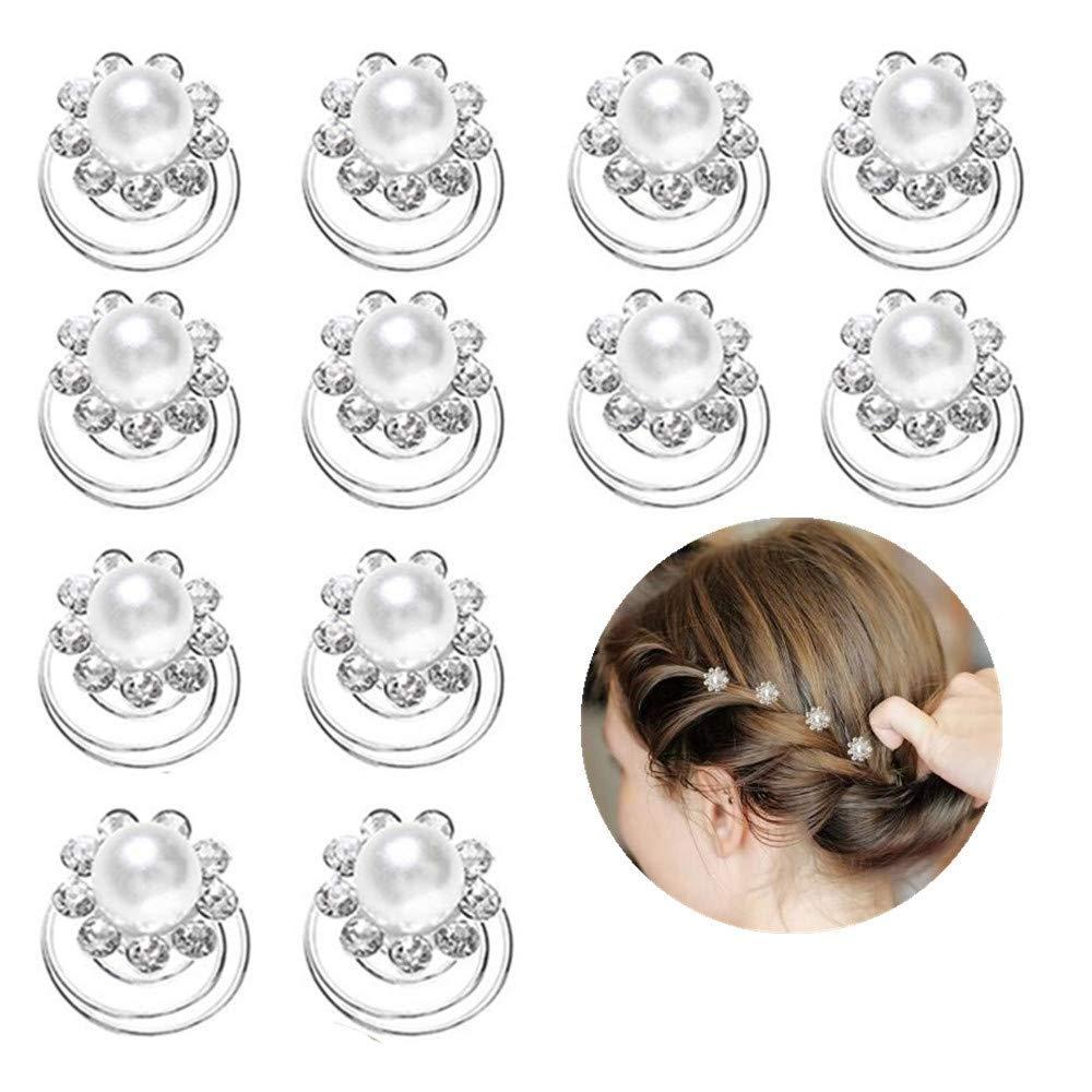 N//K PULABO 10Er Pack Hochzeit Braut Wei/ße Blume Kristall Haarnadeln Spiral Twist Haarnadeln Feine Handwerkskunst