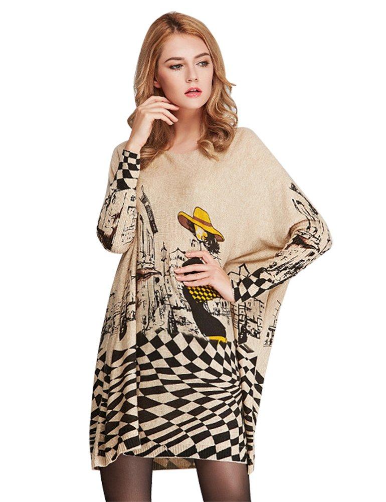 IDEALSANXUN Women's Wool Loose Lightweight Basic Plaid Printing Tunic Knit Oversized Boat Neck Oversized Batwing Sweater (Beige, One Size)