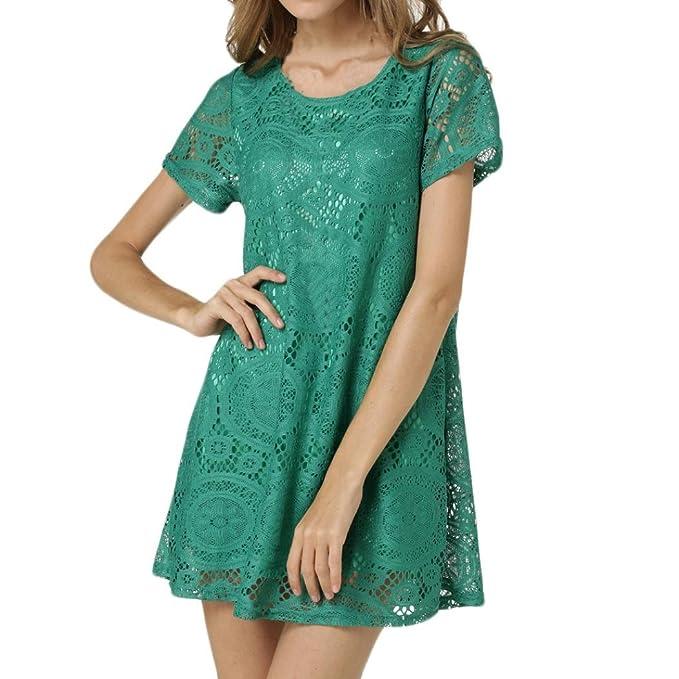 SANFASHION Bekleidung - Vestido - Trapecio o Corte en A - Manga Corta - para Mujer Verde XXXL: Amazon.es: Ropa y accesorios