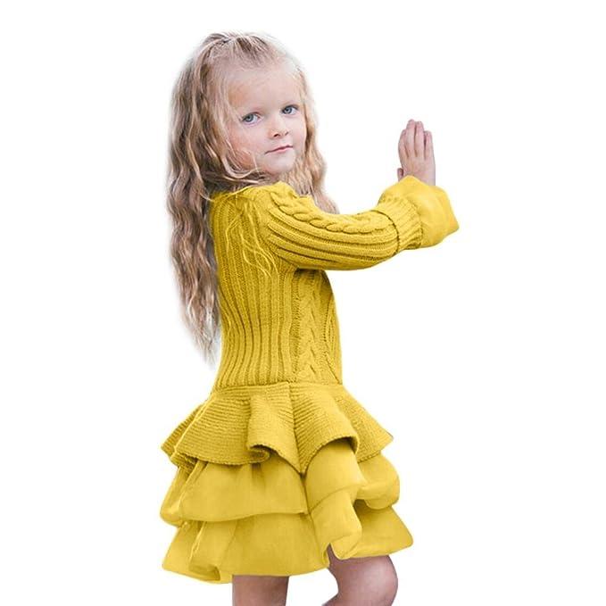 QUICKLYLY Vestidos Bebé Niña Manga Larga De Punto Princesa del Vestir Invierno Tutú Fiesta Suéter Falda: Amazon.es: Ropa y accesorios