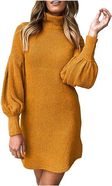 Vestido de Punto Jersey Suéter Mujer Falda Suéter Manga Larga ...