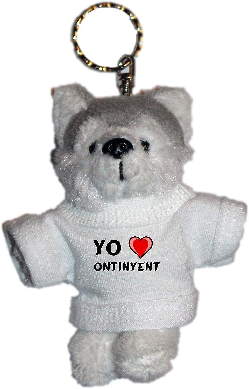 Shopzeus Llavero de Husky (Perro) de Peluche con Amo Ontinyent en la Camiseta (Ciudad / asentamiento)