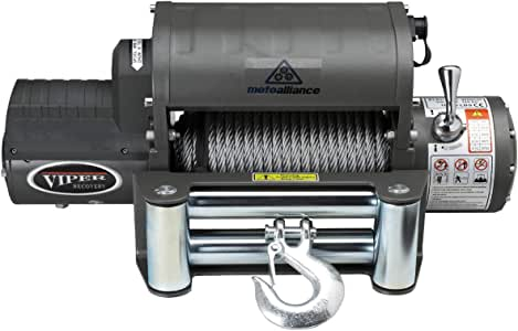 MotoAlliance VIPER Winch 12 VDC 12000lb/5443kg, Integrated Contactor, Wireless Remote, STEEL Cable