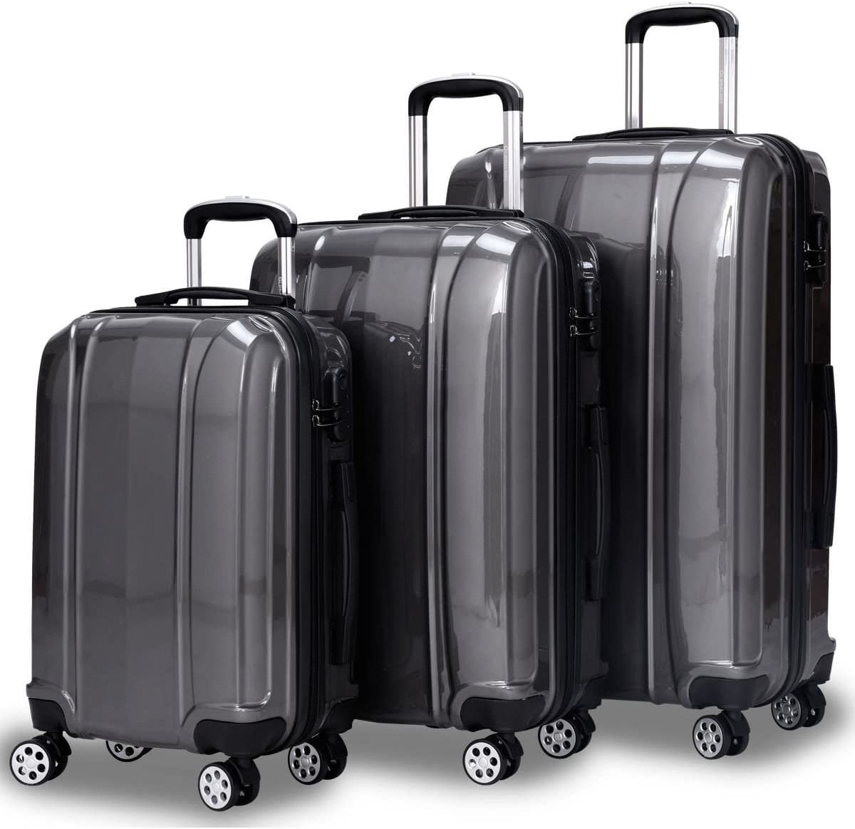 Lightweight Trolley Suitcase with Spinner Wheels Goplus Expandable Carry On Luggage 20-inch ABS Hardside Travel Bag