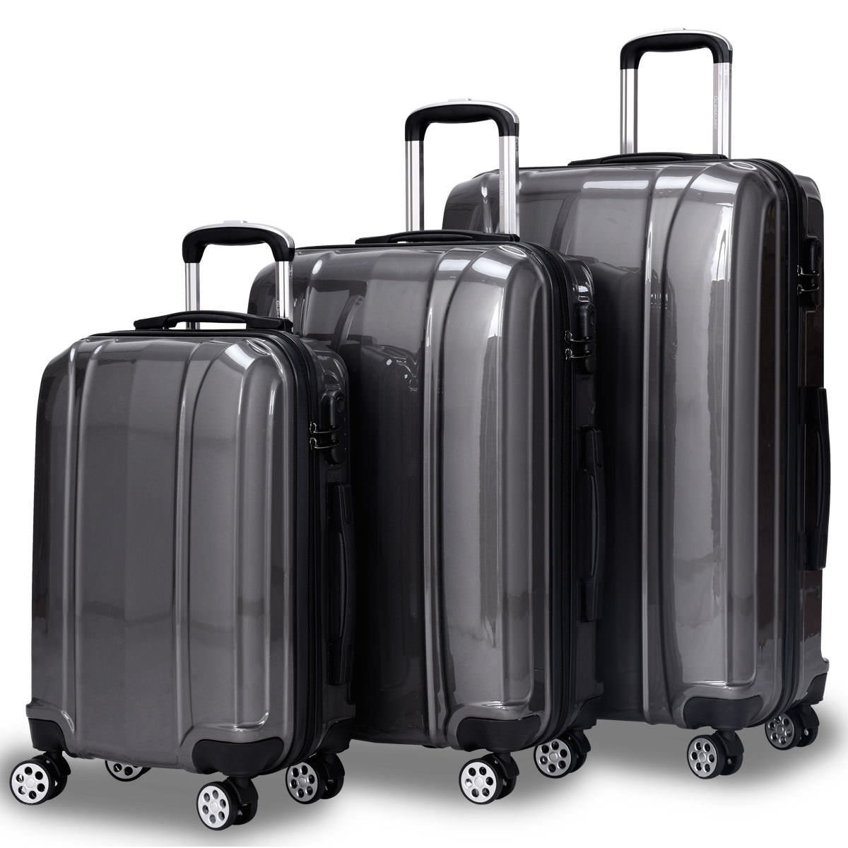 Goplus 3 Piece Luggage Set Hard Suitcases Carry On for Travel (Silver)