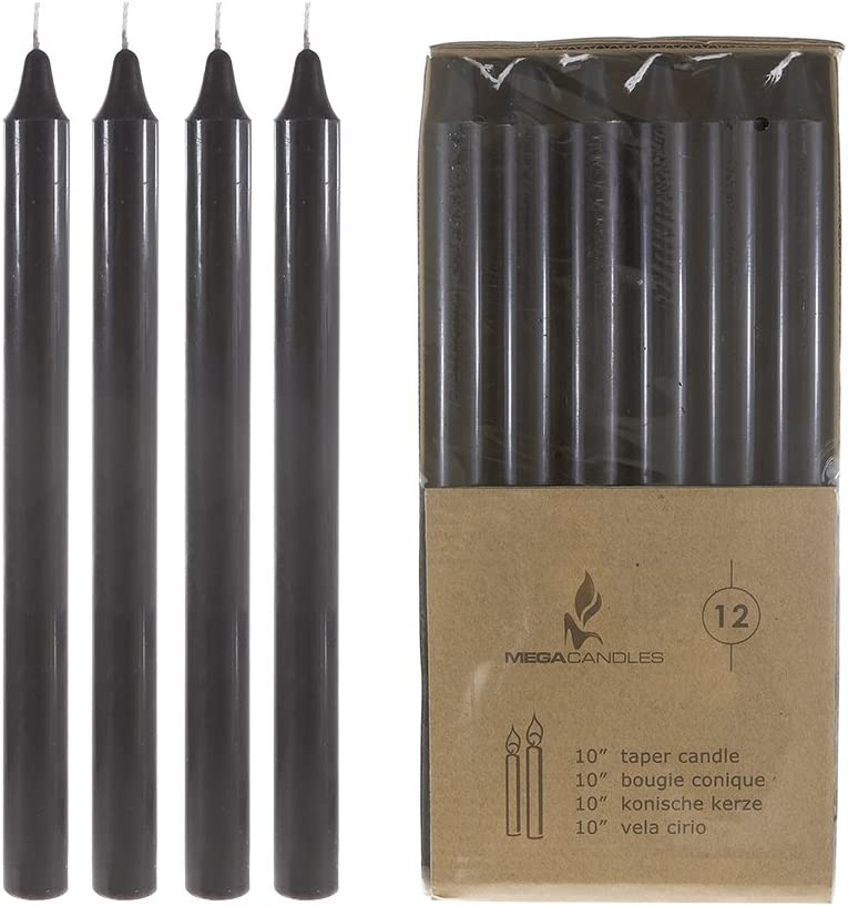 Mega Candles 12 pcs Unscented Black Straight Taper Candle, Hand Poured Wax Candles 10 Inch x 7/8 Inch, Home Décor, Wedding Receptions, Baby Showers, Birthdays, Celebrations, Party Favors & More