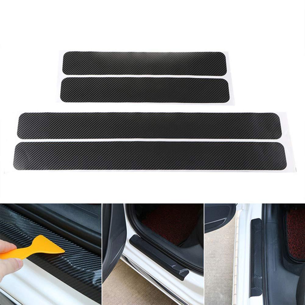 YSHtanj Car Door Sill Sticker External Decoration Protective Film Universal Carbon Fiber Anti-Scratch Car Door Sill Protective Sticker Pad Decor Silver Grey