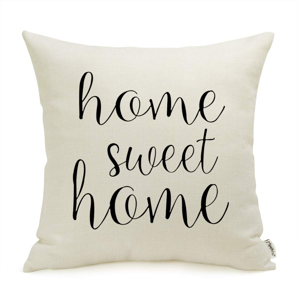 Meekio Farmhouse Pillow Covers with Home Sweet Home Quotes 18 x 18 Inch for Farmhouse Decor Perfect Housewarming Gifts