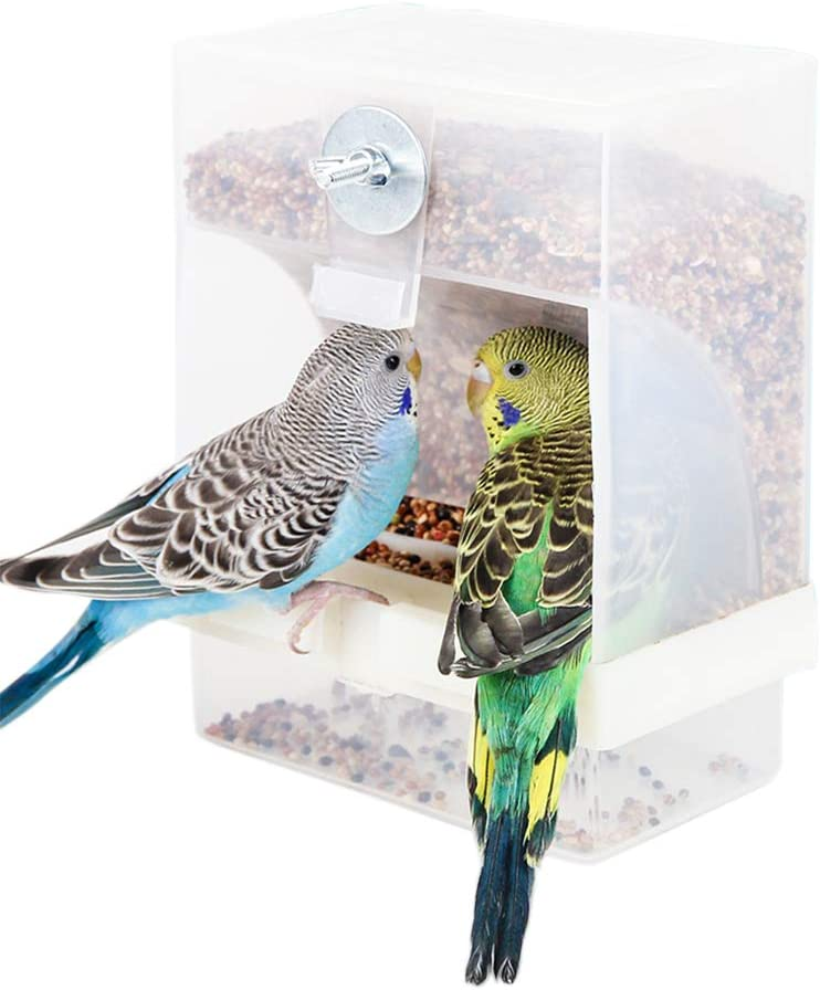 Automatic Bird Feeder No Mess for Cage Inside Birds Stuff Cage Accessories Seed Food Container for Small Brids Cockatiel Budgerigar Macaw Finch Budgie Parakeet Conure Canary Parrots Lovebird