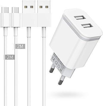 Niluoya Cargador y 2M Cable Micro USB, 3-Pack Móvil USB de Pared 2.1A/5V