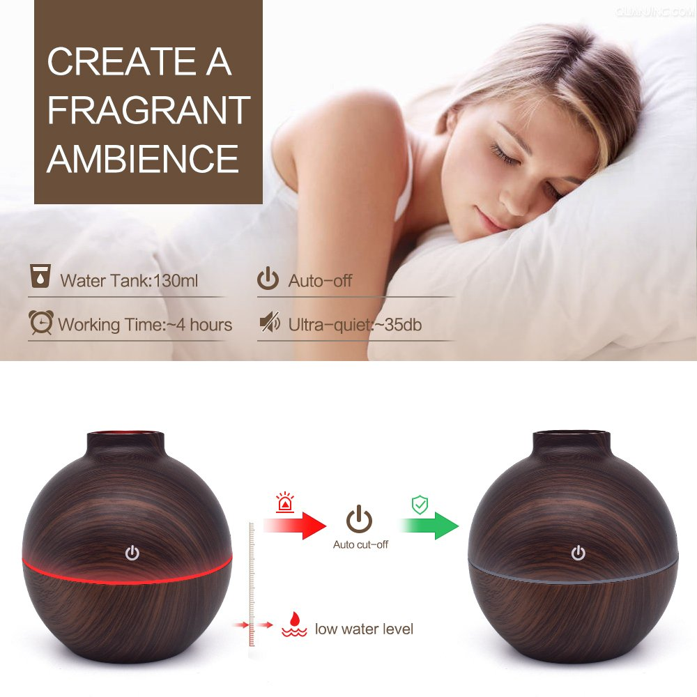 USB Power-Supplied Humidifier Aroma Essential Oil Diffuser, 130ml Ultrasonic Cool Mist Humidifier with LED Night Light USB Humidifier For Office Home Bedroom Living Room Study Yoga Spa (Dark Wood) by KBAYBO (Image #7)