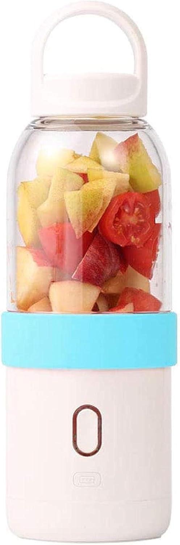 Mini exprimidor Taza Cocina doméstica Licuadora Fruta congelada en hielo Sopa caliente Batidora eléctrica de frutas Tecnología de trituración total Sports-150W 22000 RPM Motor USB recargable Rosa-Azul