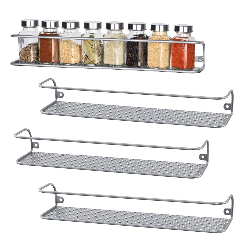 NEX 4 Pack Spice Rack Organizer Wall mounted, Spice Shelf Holder for Cabinet, Cupboard, Kitchen, Over the Stove, Silver (Large)