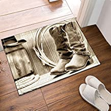 Western Decor Traditional Rodeo Supplies with Roper Boots in Vintage Colors Nostalgic Wild PhotoWaterproof Fabric Home Decor Bath Mat, Non-Slip Floor Entryways Outdoor Indoor Front Door Mat, 60x40cm Bath Rugs