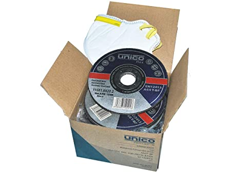 Box mit 50 Trennscheiben Ø 115mm x 1.0mm für Winkelschleifer Stahl Edelstahl Inox + Gratis Staubschutzmaske