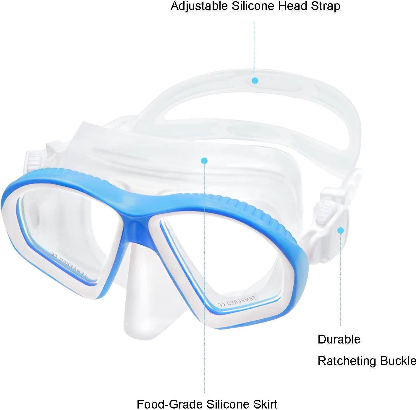 UPhitnis Masque de Plong/ée Enfant Anti-Bu/ée Masque de Plong/ée Noir Anti-Fuite Kits de Randonn/ée Aquatique Dry Tubas Snorkeling Set pour Enfant Bleu Rose Jaune