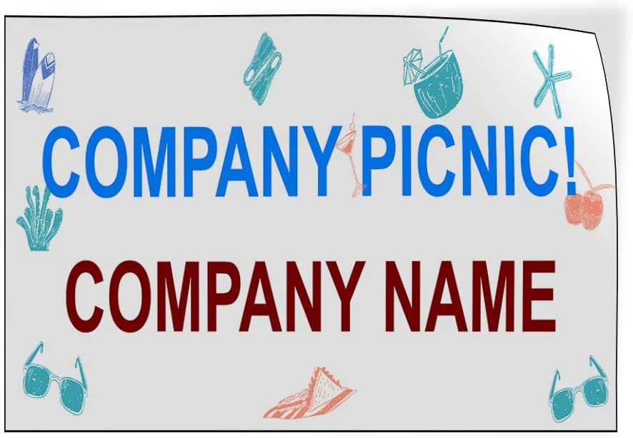 Company Name Business Company Picnic Outdoor Luggage /& Bumper Stickers for Cars Blue 30X20Inches Set of 5 Custom Door Decals Vinyl Stickers Multiple Sizes Company Picnic